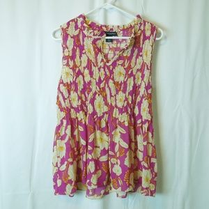 Floral Printed Sleeveless Ruched Blouse Size Small